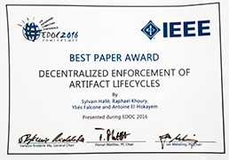 Best Paper Award at EDOC 2016